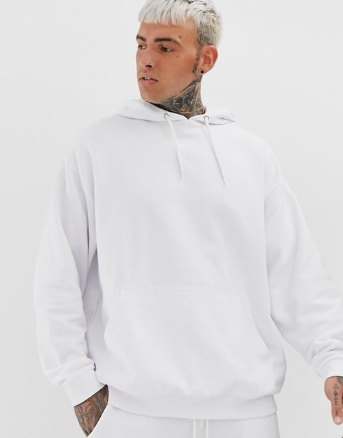 FOS DESIGN oversized tracksuit with hoodie in white