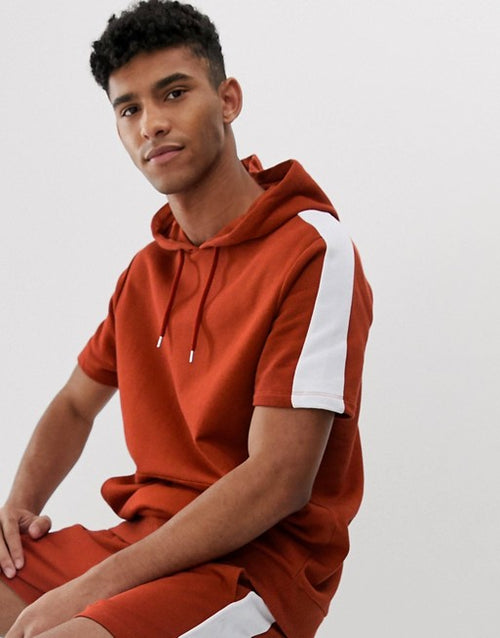 FOS DESIGN tracksuit short sleeve hoodie and shorts in shorter length with side stripe in red
