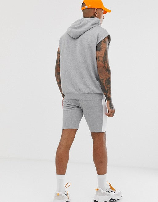 FOS DESIGN tracksuit sleeveless oversized hoodie and shorts with side stripe in grey marl