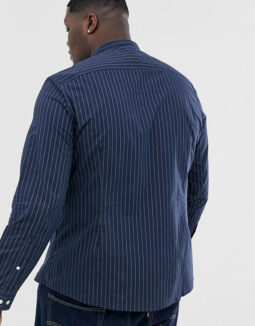 FOS DESIGN Plus slim fit grandad collar shirt with blue & white stripe