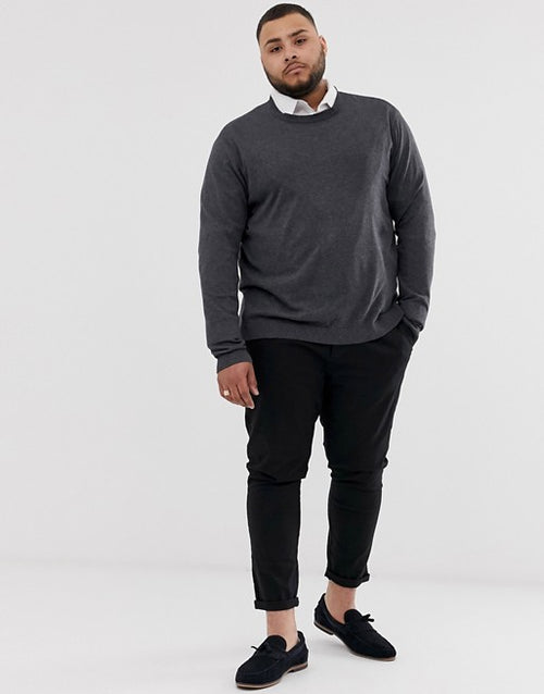 FOS DESIGN Plus crew neck cotton jumper in charcoal