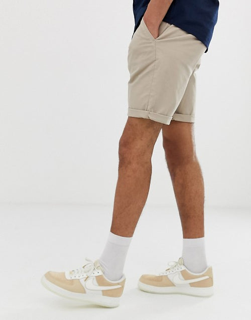 FOSDESIGN Tall slim chino shorts in beige