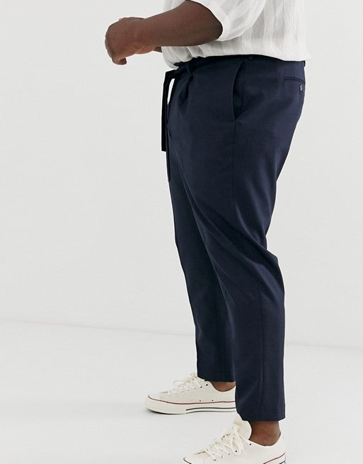 FOS DESIGN Plus tapered crop smart trousers with tie waist in navy