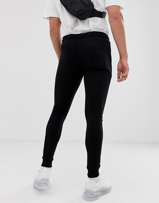 FOS DESIGN super skinny joggers with zips in black