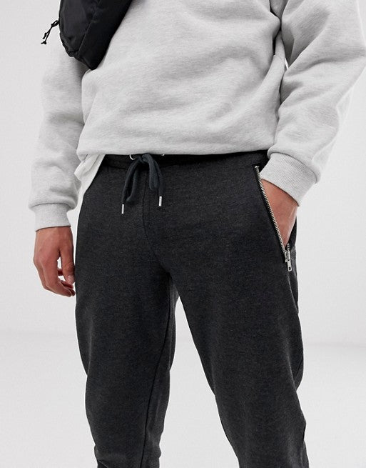 FOS DESIGN tapered joggers with zips in charcoal marl