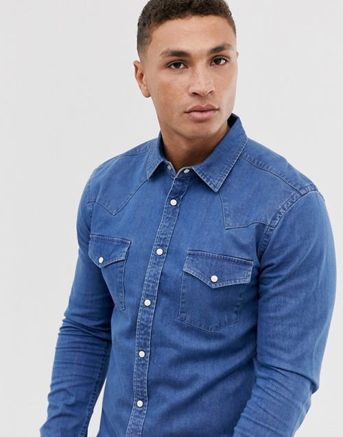 FOS DESIGN skinny fit denim western shirt in mid wash