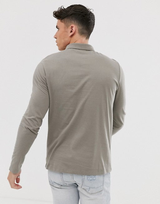 FOS DESIGN organic long sleeve polo in jersey in beige