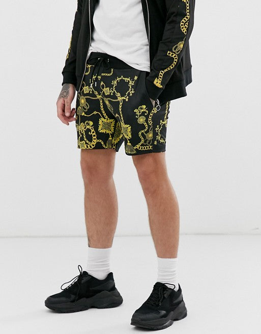 FOS DESIGN co-ord poly tricot skinny shorts in baroque print