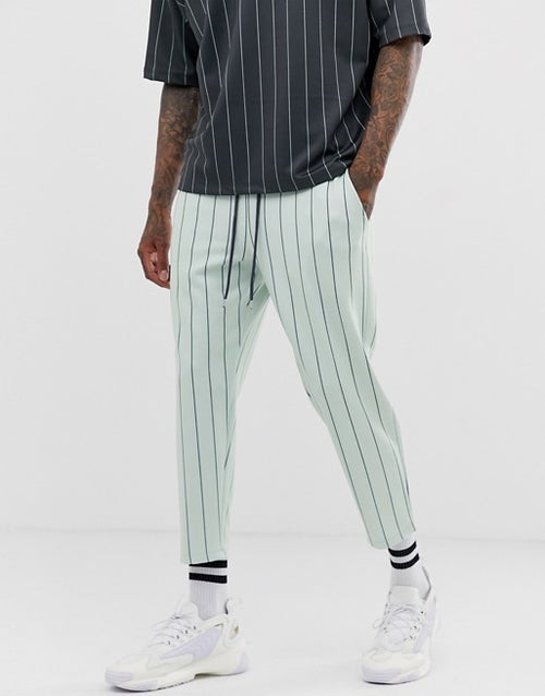 FOS DESIGN co-ord skinny cropped joggers in pinstripe
