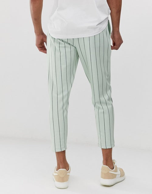 FOS DESIGN Tall skinny cropped joggers in pinstripe