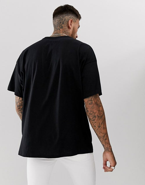 oversized black t-shirt with dark future logo