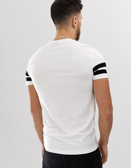 organic skinny fit t-shirt with black contrast sleeve stripe in white