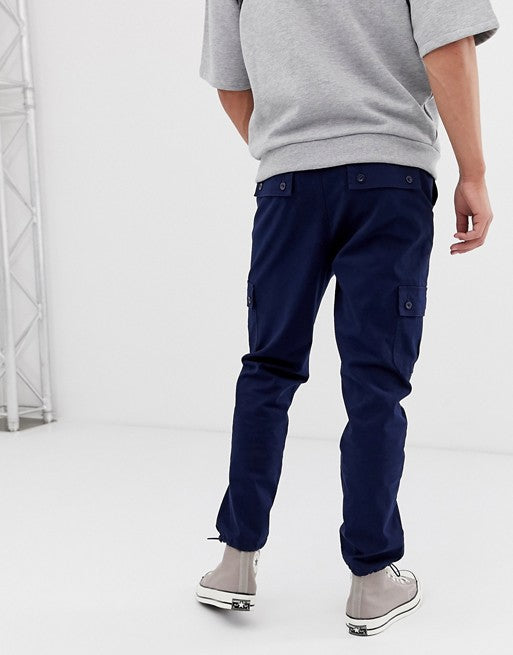 FOS DESIGN tapered cargo trousers with toggles in navy