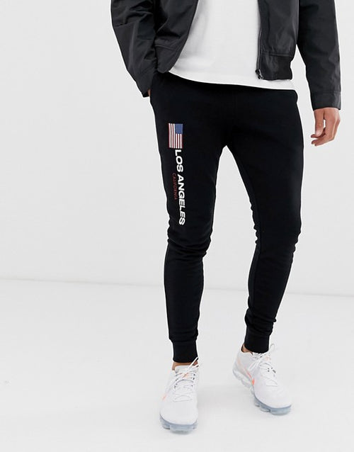 FOS DESIGN skinny joggers with Los Angeles flag print