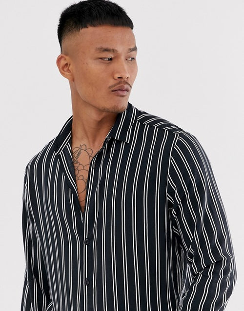 FOS DESIGN regular stripe shirt in black and white