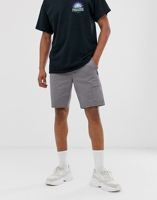 FOS DESIGN slim cargo shorts with webbed utility belt