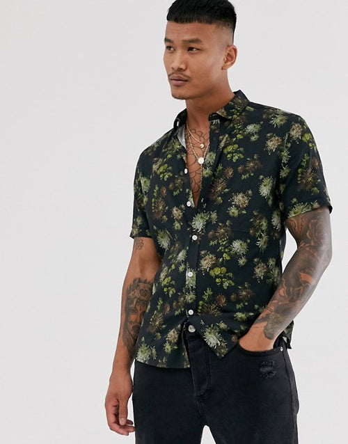 FOS DESIGN slim floral shirt in black