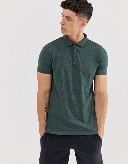 FOS DESIGN jersey polo in green marl