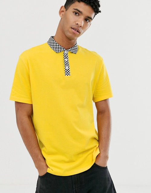 FOS DESIGN organic cotton relaxed polo shirt with woven checkerboard collar
