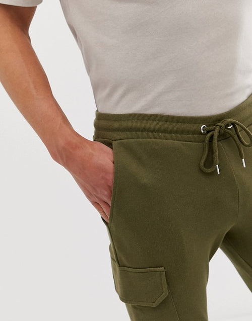 FOS DESIGN skinny joggers with cargo pocket in dark olive
