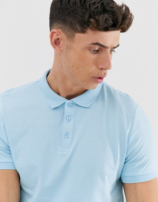 FOS DESIGN organic polo in jersey in blue