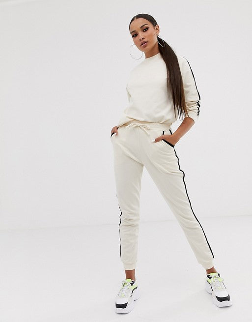 FOS DESIGN tracksuit cute sweat / basic jogger with tie with contrast binding