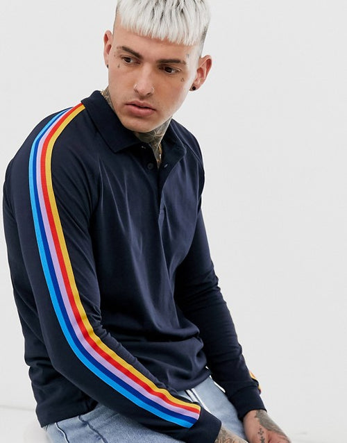 FOS DESIGN long sleeve polo shirt with rainbow taping in navy