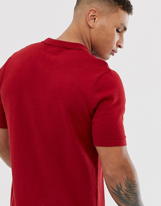 FOS DESIGN knitted revere polo shirt in red