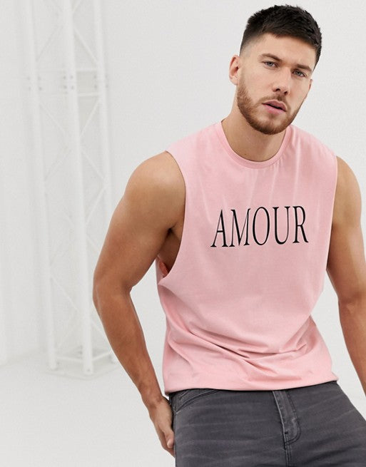 sleeveless t-shirt with dropped armhole and text print