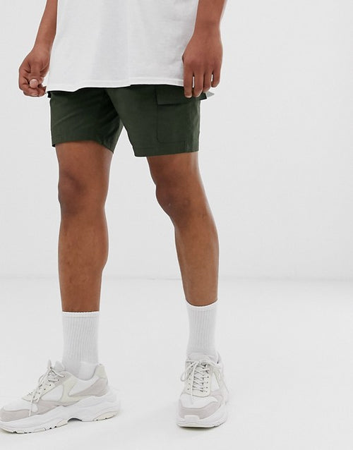 FOS DESIGN slim shorts in dark green nylon