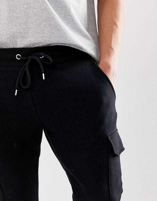 FOS DESIGN skinny joggers with cargo pockets in black