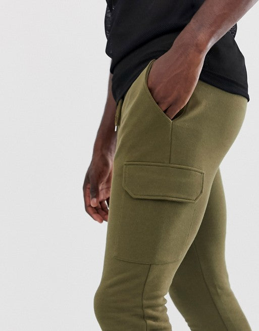 FOS DESIGN Tall skinny joggers with cargo pocket in dark olive