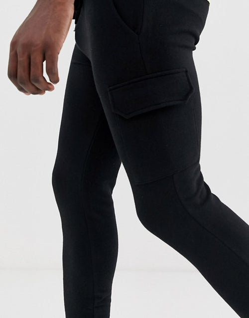FOS DESIGN Tall skinny joggers with cargo pockets in black