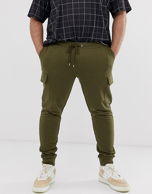 FOS DESIGN Plus skinny joggers with cargo pocket in dark olive