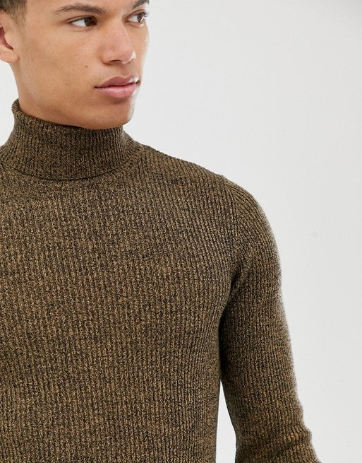 FOS DESIGN Tall knitted ribbed roll neck jumper in tan twist