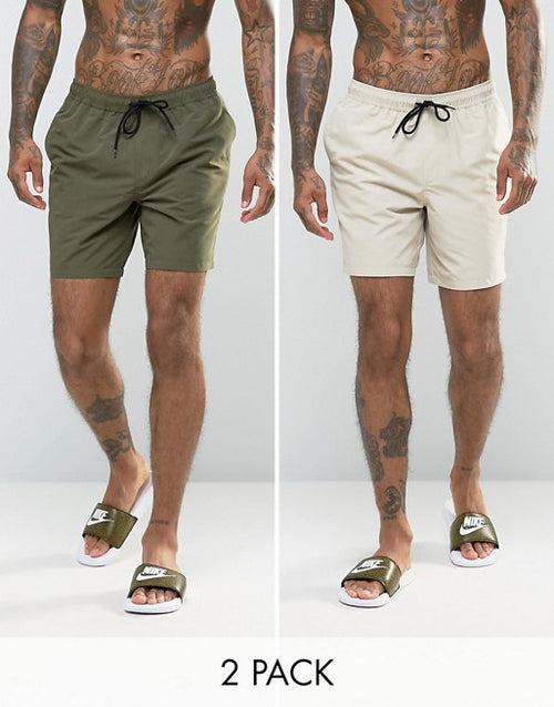 FOS DESIGN swim shorts 2 pack in khaki & stone mid multipack saving