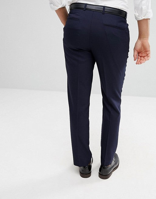 FOS DESIGN slim smart trousers in navy