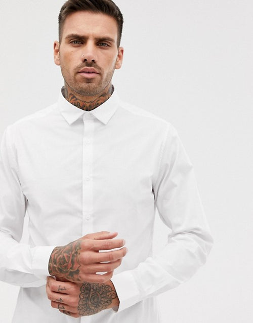 FOS DESIGN stretch slim formal work shirt in white