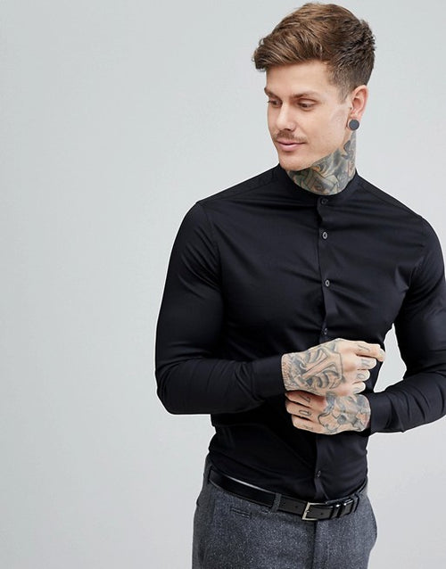 FOS DESIGN skinny shirt in black with grandad collar