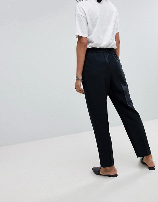 FOS DESIGN elasticated clean tapered trouser