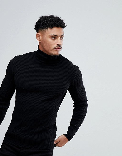FOS DESIGN muscle fit ribbed roll neck jumper in black