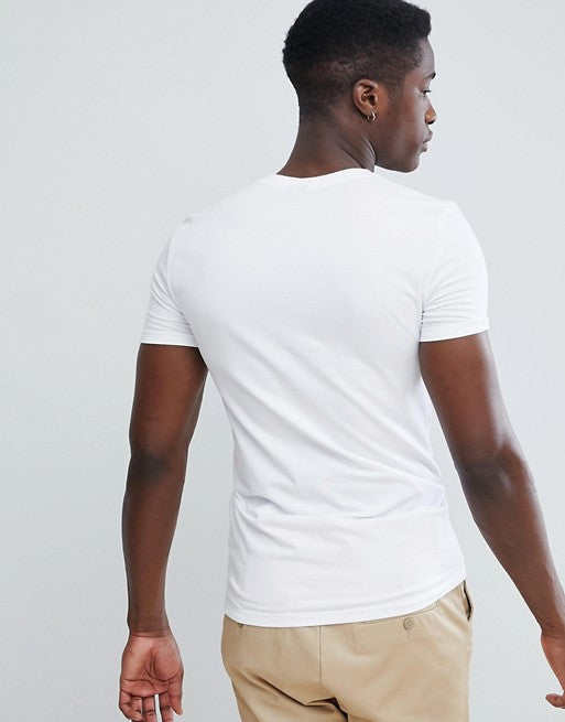 muscle fit v neck t-shirt with stretch in white