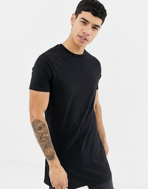 super longline t-shirt with crew neck in black
