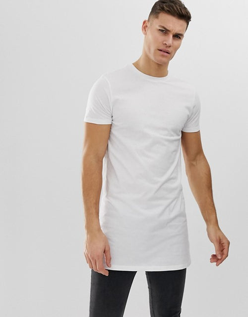 super longline t-shirt with crew neck in white