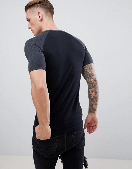 muscle fit raglan crew neck t-shirt with stretch and contrast sleeves