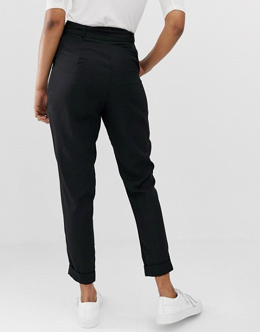 FOS DESIGN Woven Peg Trousers with Obi Tie