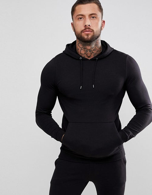 FOS DESIGN tracksuit muscle hoodie/extreme super skinny joggers in black