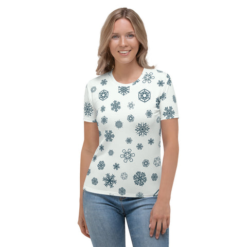 Patterned White Shaded Women's T-shirt