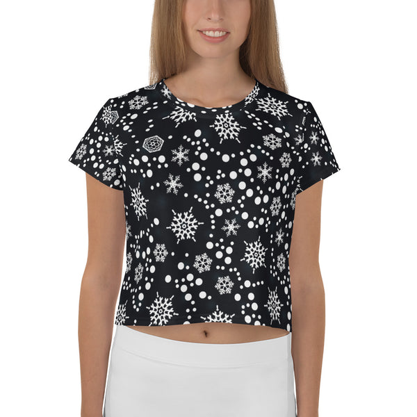 Black & White All-Over Print Crop Tee