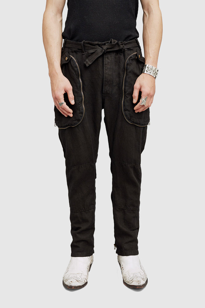 A close-up of a black cargo pants for men collection by Faith Connexion, a brand of luxury ready-to-wear
